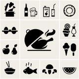 Комплект черных значков еды силуэта Стоковые Изображения RF