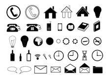 Комплект черных значков на белой предпосылке Стоковое Фото