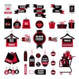 Комплект черных значков продажи пятницы иллюстрация штока