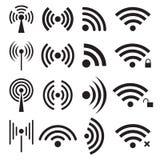 Комплект черных значков радиотелеграфа и wifi Стоковая Фотография