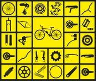 Комплект черных значков силуэта частей велосипеда запасных Стоковое фото RF