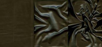 Комплект черных кожаных текстур Стоковая Фотография