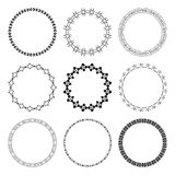 Комплект черных круглых рамок с орнаментом Стоковые Изображения