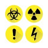 Комплект черных предупредительных знаков на желтом цвете, силуэтов также вектор иллюстрации притяжки corel Стоковые Фото