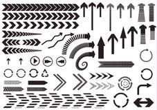 Комплект черных стрелок на белой предпосылке Стоковые Изображения