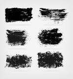 Комплект черных форм grunge граници ставят точки вектор стежками 3 холстинки цветка eps10 выстегивая Стоковое Изображение