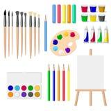 Комплект чертегных инструментов: мольберт, краски, щетки, карандаши, crayons, изолировал объекты на белой иллюстрации вектора пре Стоковое Изображение RF
