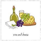 Комплект чертежей вина эскизы рук-чертеж иллюстрация вектора
