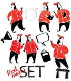 Комплект чертежей красно-черных людей Стоковая Фотография RF