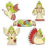 Комплект чудесных красочных ангелов иллюстрация штока