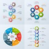 Комплект шаблона 4 дел infographic с 6 шагами, процессы, бесплатная иллюстрация