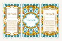 Комплект шаблона карточек Орнаментальные границы и сделанная по образцу предпосылка мандала Рамка для поздравительной открытки ил Стоковое фото RF