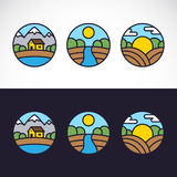 Комплект шаблона логотипа ландшафта природы Стоковое фото RF