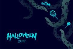 Комплект 2017 шаблона предпосылки хеллоуина, kraken щупальца изверга Стоковые Фото