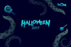 Комплект 2017 шаблона предпосылки хеллоуина, kraken щупальца изверга Стоковые Изображения RF