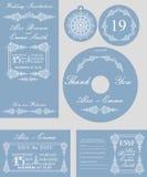 Комплект шаблона свадьбы зимы Завихряться снежинок Стоковые Изображения