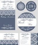Комплект шаблона свадьбы зимы Снежинки Пейсли Стоковая Фотография