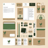 Комплект шаблона фирменного стиля Модель-макет чая Eco Стоковые Изображения