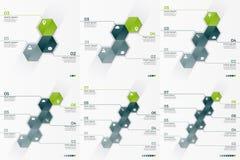 Комплект 3-8 шаблонов вектора варианта infographic с 6 шестиугольниками Стоковые Изображения RF