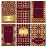 Комплект шаблонов визитной карточки золота Стоковое Фото