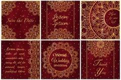 Комплект шаблонов визитной карточки и карточки приглашения с орнаментом шнурка Иллюстрация штока