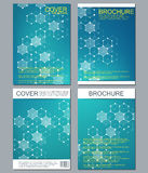 Комплект шаблонов дела для брошюры, рогульки, кассеты крышки в размере A4 Дна молекулы структуры и нейроны геометрическо Стоковая Фотография