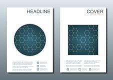Комплект шаблонов дела для брошюры, рогульки, кассеты крышки в размере A4 Дна молекулы структуры и нейроны геометрическо бесплатная иллюстрация
