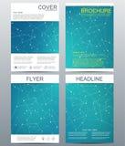 Комплект шаблонов дела для брошюры, рогульки, кассеты крышки в размере A4 Дна молекулы структуры и нейроны геометрическо иллюстрация штока