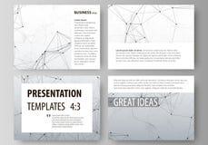 Комплект шаблонов дела для скольжений представления Абстрактные планы вектора в плоском дизайне Линии и точки смесей развилки иллюстрация штока