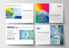 Комплект шаблонов дела для скольжений представления Легкие editable планы в плоском дизайне Абстрактные треугольники, голубые Стоковые Фото