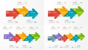 Комплект шаблонов диаграммы срока infographic с стрелками иллюстрация штока