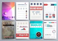 Комплект шаблонов дизайна для брошюр, рогулек, передвижного Technologi Стоковые Изображения RF