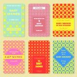 Комплект шаблонов приглашения Карточка красочного младенца showery Иллюстрация штока