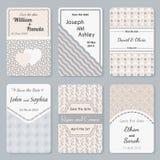 Комплект шаблонов приглашения Элегантная винтажная карточка дня свадьбы Бесплатная Иллюстрация