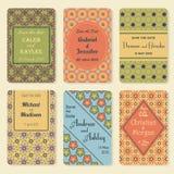 Комплект шаблонов приглашения Элегантная винтажная карточка дня свадьбы Иллюстрация вектора