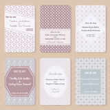 Комплект шаблонов приглашения Элегантная винтажная карточка дня свадьбы Иллюстрация штока