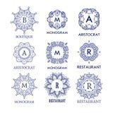 Комплект шаблонов роскоши, простых и элегантных голубых вензеля дизайна Стоковое Изображение RF