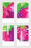 Комплект шаблонов с абстрактными розовыми ягодами Текстуры нарисованные рукой Творческий абстрактный дизайн для социальной брошюр иллюстрация вектора