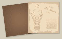 Комплект шаблонов с милой мороженым нарисованным рукой Стоковое Изображение RF