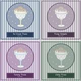 Комплект шаблонов с милой мороженым нарисованным рукой Стоковые Фото