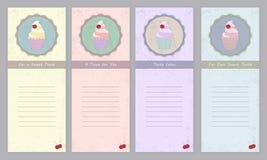 Комплект шаблонов с милой пирожным нарисованным рукой Стоковое Фото