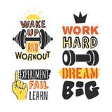 Комплект шаблонов текста для дизайна, цитаты мотивировки спорта, положительного оформления Стоковые Изображения