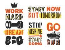 Комплект шаблонов текста для дизайна, цитаты мотивировки спорта, положительного оформления Стоковая Фотография