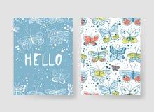Комплект шаблонов для карточек лета Вектор нарисованный рукой делает по образцу брошюры с бабочкой Стоковая Фотография