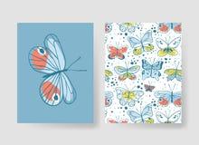 Комплект шаблонов для карточек лета Вектор нарисованный рукой делает по образцу брошюры с бабочкой Стоковое фото RF