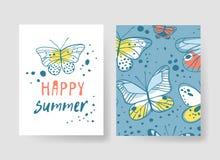 Комплект шаблонов для карточек лета Вектор нарисованный рукой делает по образцу брошюры с бабочкой Стоковое Изображение