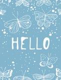 Комплект шаблонов для карточек лета Вектор нарисованный рукой делает по образцу брошюры с бабочкой Стоковое Фото