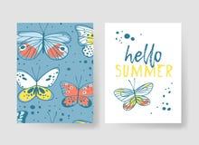 Комплект шаблонов для карточек лета Вектор нарисованный рукой делает по образцу брошюры с бабочкой Стоковые Фотографии RF
