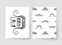 Комплект шаблонов для карточек моды Вручите вычерченные брошюры битника картин вектора с усиком Стоковые Фото