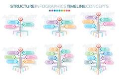 Комплект шаблонов infographics дерева с вариантами ветвей иллюстрация вектора